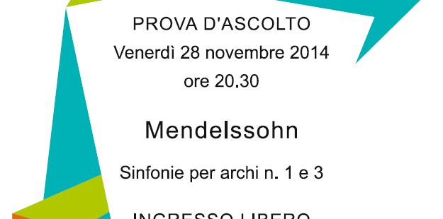 """Prova d'ascolto: """"Mendelssohn, sinfonie per archi n. 1 e 3"""", Biblioteca di San Michele a/A, 28.11.14"""